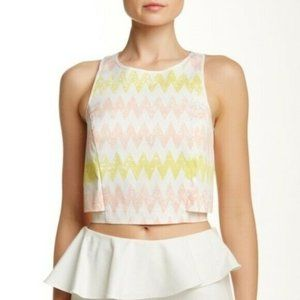 1.State Chevron Cameo Pink Crop Top Large NWT